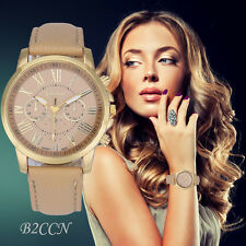 Fashion Women's Geneva Analog Quartz Roman Numerals Leather Band Wrist Watches