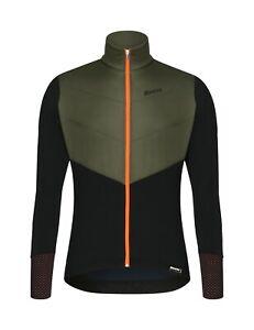 Santini Men's Vega Polartec Cycling Jacket in Green - Size L
