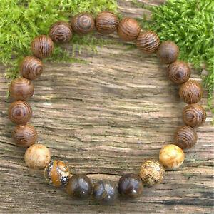 8mm Bronzite Beads Handmade Picture Jasper Bracelet 7.5inch Wrist Yoga Buddhism