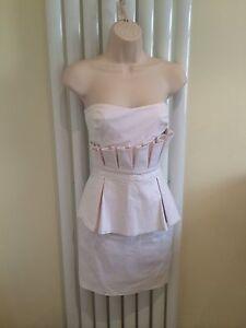 LIPSY Stunning White Peplum Pencil Bodycon Strapless Party Dress Size 10 NEW