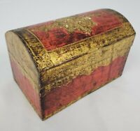 Vintage Italian Red Gold Gilt Florentine Domed Lid Wood Trinket Jewelry Box