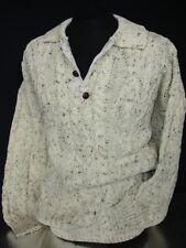 Vintage Pure Wool Aran Collar Jumper Long Sleeve knit knitwear - Free P&P