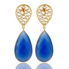 Blue Chalcedony 18K Gold Plated 925 Sterling Silver Dangle Earrings Jewelry