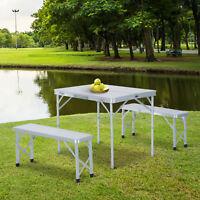 Outsunny Folding Picnic Table Bench Outdoor Garden Patio Camping BBQ Aluminium
