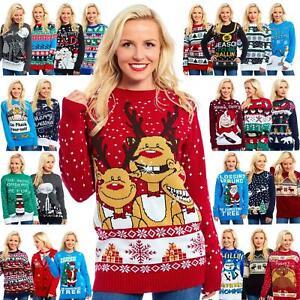 Christmas Jumper Unisex Men Ladies Women Xmas Knit Sweater Funny Cheesy Novelty