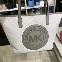 Michael Kors Women Medium Large Tote White Grey Silver Bag Handbag Purse Leather