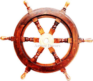 "24"" Wood Brass Ship Steering Wheel Antique Maritime Pirate Nautical Wall Decor"