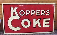 "Original 47.5""x28"" Porcelain Koppers Coke Coal Porcelain Sign From St Paul Mn"