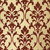 Wallpaper burgundy gold Metallic Textured Flocking rustic Damask Flocked Velvet