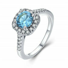 Fashion Men's Women's Sea blue gemstone Wedding Jewelry Silver Ring Size 6