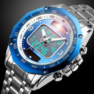 Solar Powered Mens Watches Stainless Steel Waterproof Analog&Digital Sport Watch