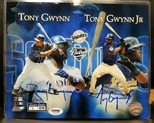 TONY GWYNN SR. &  JR. FATHER & SON DUAL SIGNED 8x10 PHOTO PSA