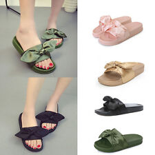 Women Summer Flip Flops Bow Satin Slide Slip On Flat Casual Sandal Shoes Slipper