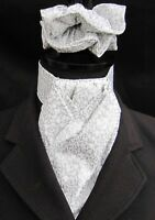 Ready Tied White and Silver Swirls Cotton Dressage Riding Stock and Scrunchie