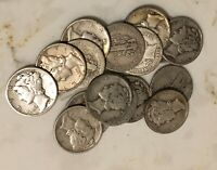(Qty 1) 1916-1945 One 90% Silver Mercury Dime Coin Average Good from Mixed Lot