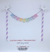 PERSONALISED ANY NAME BIRTHDAY CAKE TOPPER BUNTING PASTEL RAINBOW UNICORN SILVER