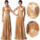 Golden Evening Gown Bridesmaid Dress Prom Formal Party Ball Gown Dress Size 8-20