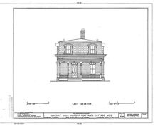 Victorian brick cottage with porches and dormers, architectural printed plans