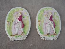 Pair of Tilso Japan Colonial Couple Wall Plaques