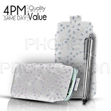 BLING LEATHER PULL TAB CASE COVER POUCH AND STYLUS PEN FOR MOST APPLE PHONES
