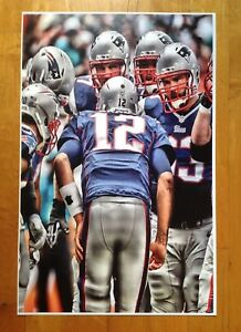 Tom Brady Patriots Huddle  Frameable Poster 17 X 11  Superbowl LII