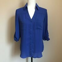 EXPRESS The Portofino Shirt Roll Up Sleeves Blouse Top Size Small Blue EUC