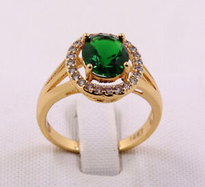 New Pretty Jewellery Natural 3.02ct Emerald 14k Solid Yellow Gold Ring Size 9.5#