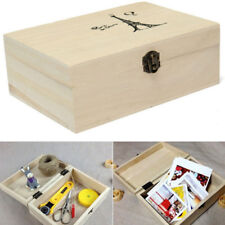 1* Plain Unpainted Natural Wooden Tool Storage Case Memory Craft Small Chest Box