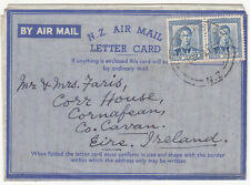 New Zealand: GVI Airmail Letter Card, Featherstone to Ireland, 27 March 1949