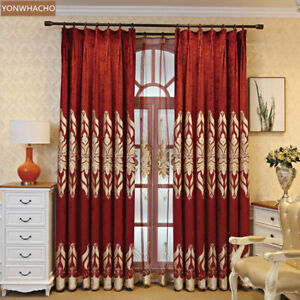 thick chenille embroidered red wedding room cloth blackout curtain drape B914