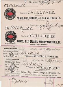 RARE 4 Billheads - Carter White Lead Paint Omaha Covell Porter Rochester NY 1890