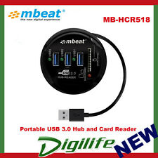 mbeat Portable USB 3.0 Hub and Card Reader Support SD & MicroSD cards MB-HCR518