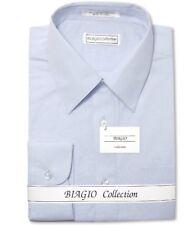 Biagio Men's 100% COTTON Solid POWDER BLUE Color Dress Shirt sz 17.5 36/37