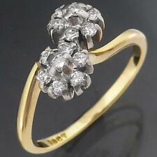 Curvy Solid 18k Yellow GOLD DOUBLE DAISY CLUSTER 14 DIAMOND RING Sz O1/2