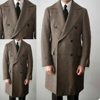 Men's Double Breasted Houndstooth Coat Business Overcoats Wide Peak Lapel Jacket
