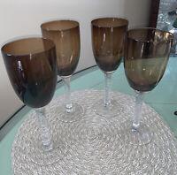 Pier 1 Smoke Brown Bowl Crackle Icicle like Stem Flute Champagne Glasses set o 4
