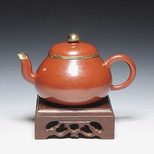 OldZiSha-Famed China Yixing ZiSha ZhuNi Small 150cc Polished Old Teapot W Copper