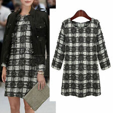 Cotton Blend Checked Long Sleeve Casual Dresses for Women