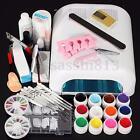 Full 36W White Cure Lamp Dryer + 12 Colors Acrylic UV Gel Nail Art Tools Set Kit