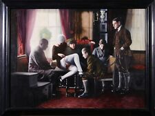 GUY JOHNSON (b.1927) AMERICAN 1985 LARGE SIGNED PHOTO REALIST OIL EROTIC SCENE
