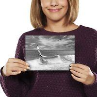 A5 bw - Windsurfer Surfing Waves Ocean Sea Print 21x14.8cm 280gsm #40842