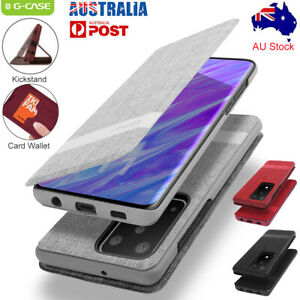 For Samsung Galaxy S20 Ultra S10+ Slim Nylon Flip Wallet Stand Case Full Cover