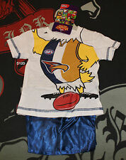 West Coast Eagles AFL Boys Mascot Printed Cotton Satin Pyjama Set Size 00 New