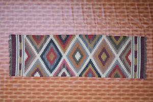 Afghan 2.6x8 foot Kelim Hand Made Carpet Rug Runner Jute Wool Kilim Rug Hallway