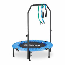Folding Trampoline with Handle, Indoor Fitness Trampoline with Expanders, 100 cm