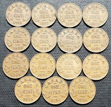 Lot of 15x Canada King George V 1 Cent Coins - Dates: 1929 to 1936