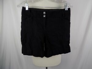 White House Women's Black Market Black Shorts Sz 2 Linen Blend 30 x 7