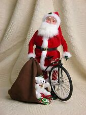 Byers Choice 2012 Philadelphia Show Special Santa w/Sack of Toys Bear Bike Rare