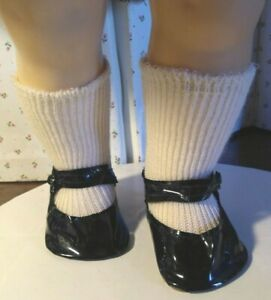 """NOS BLACK VINYL MARY JANE SHOES & WHITE SOCKS fit IDEAL 22"""" SAUCY WALKER DOLL"""