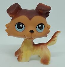 RARE Littlest Pet Shop Collie Dog Puppy Figure #58 Tan Cream Brown Mocha LPS Toy